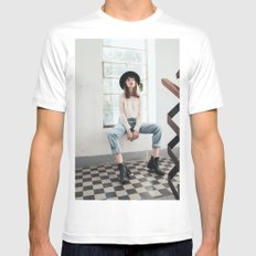 Fashion and style SMALL Mens Fitted Tee White