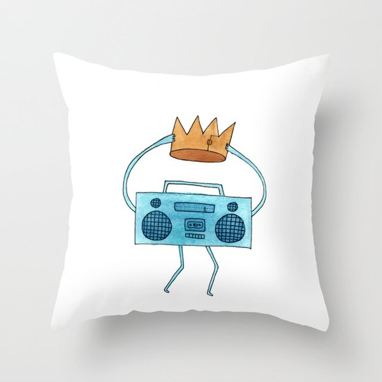 boombox holding a paper crown Throw Pillow