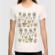 Potted Succulents Womens Fitted Tee Natural MEDIUM