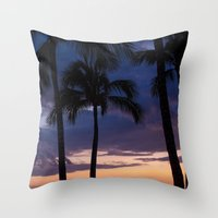 Palms at Dusk Throw Pillow
