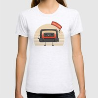 Cute Mix Tape Womens Fitted Tee Ash Grey SMALL