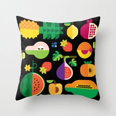 Fruit Medley Black Throw Pillow