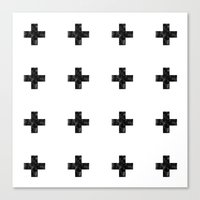 Watercolor Swiss Cross (White) Canvas Print