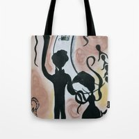 Waving to the moon Tote Bag
