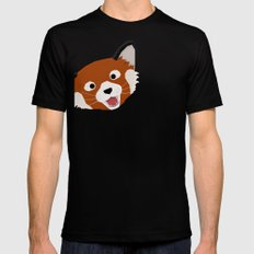 Red Panda Face SMALL Mens Fitted Tee Black
