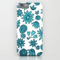 Blue Flowers on White iPhone 6 Slim Case