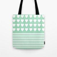 Heart Stripes Mint Tote Bag