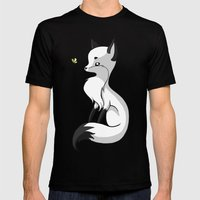 Fox and a Butterfly Mens Fitted Tee Black SMALL