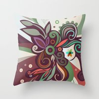 Floral Curves II Throw Pillow