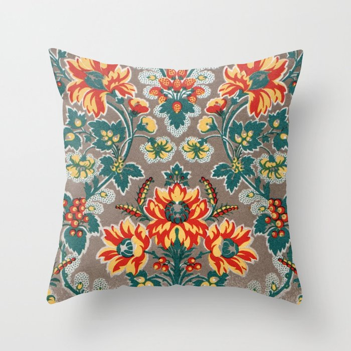 Vintage Floral Pattern 18th Century Decorative Ornate Fancy Throw Pillow by Iconographique ...