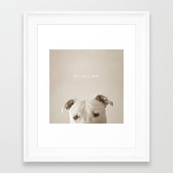 Pit bull love  Framed Art Print