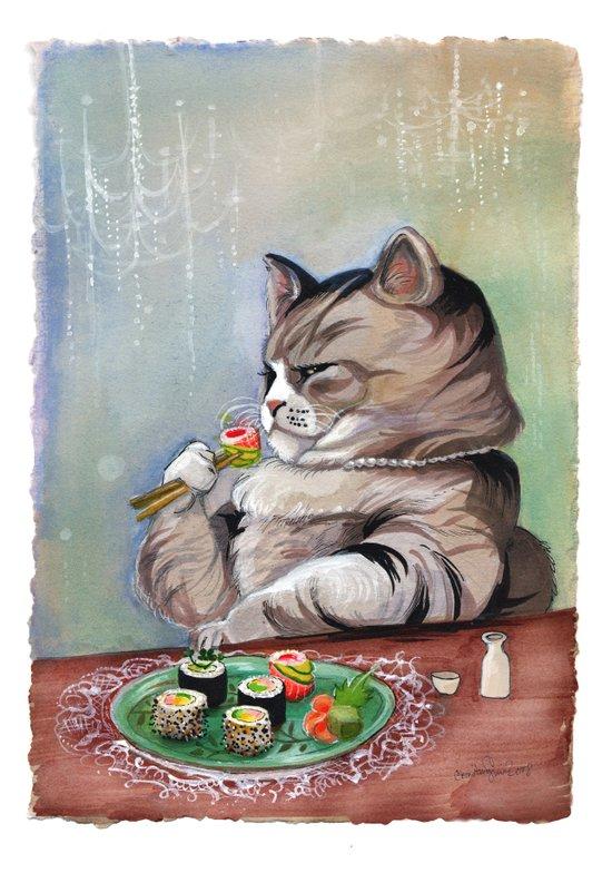 Sushi Cat- Fancy Feast Art Print