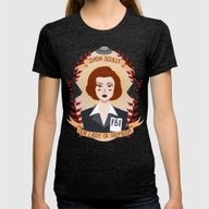 Dana Scully Womens Fitted Tee Tri-Black SMALL