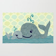 Whale Mom and Baby Rug