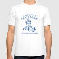 Sleep With A Mailman Mens Fitted Tee White SMALL