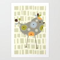 Grey Tweetie Bird Art Print