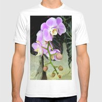 Orchids on the Rocks Mens Fitted Tee White SMALL