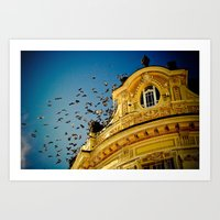 Birds On A Building, Sib… Art Print