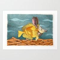 Foxface Rabbit Fish Art Print
