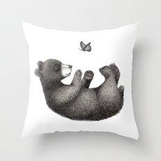 Rolling bear Throw Pillow