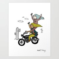 On the freedom experienced by Desert Bike Harpies Art Print