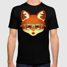 Hipster Fox: Azure SMALL Mens Fitted Tee Black