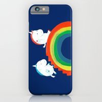 iPhone Cases featuring Unicorn on rainbow slide by Budi Kwan