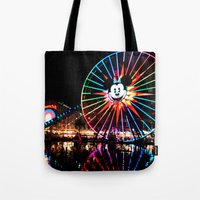 Paradise Pier At Night Tote Bag