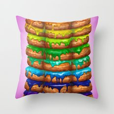 Donuts I 'Sweet Rainbow' Throw Pillow