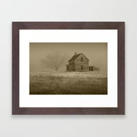 Sepia Toned Photograph of an Abandoned Farm House in an Early Morning Fog Framed Art Print
