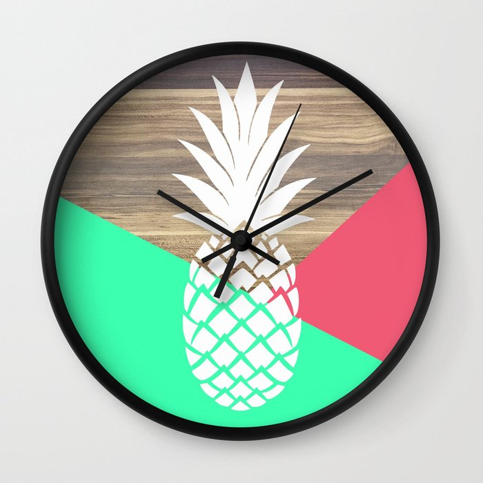 pineapple loving wall clock by emily lanier society6