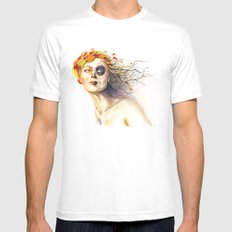 Lady Autumn Mens Fitted Tee SMALL White
