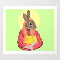 Mary Magdabunny and Baby Peepsus Art Print