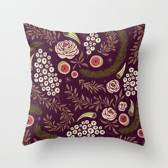 Autumn's Dusk Floral Throw Pillow