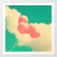 Happy Pink Balloons On R… Art Print