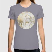 Gold marble Womens Fitted Tee Slate SMALL