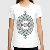 Triangle Tribal Mint Womens Fitted Tee White SMALL