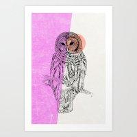 Techno Owl Art Print