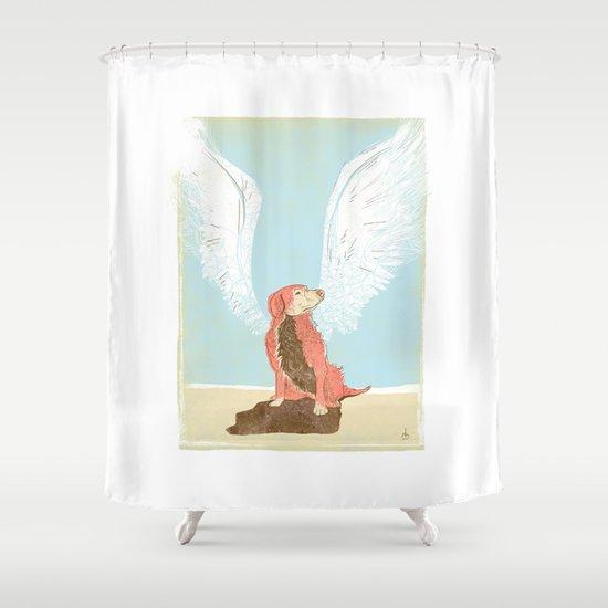 All Dogs Go to Heaven (Golden Retriever) Shower Curtain