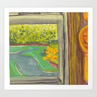 Kitchen Window With Happ… Art Print