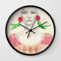 Two Red Flowers Wall Clock