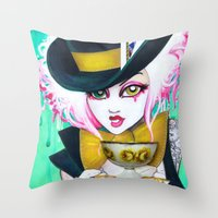 The Mad Hattress Throw Pillow
