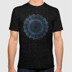 BOHOCHIC MANDALA IN BLUE Mens Fitted Tee Tri-Black SMALL