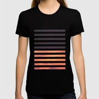 Black Strips Womens Fitted Tee Black SMALL