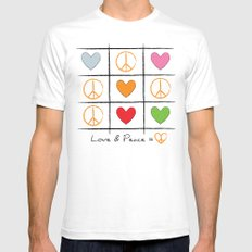 Love & Peace SMALL White Mens Fitted Tee