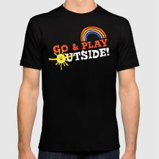 Go & Play Outside! Black SMALL Mens Fitted Tee