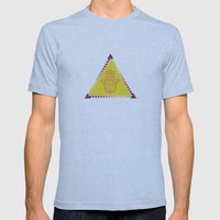 Merkaba Triangle Yellow Mens Fitted Tee Athletic Blue SMALL