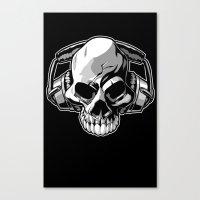 Skull phones Canvas Print