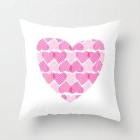 Pretty Ruby Heart Throw Pillow