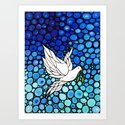 Peaceful Journey - Vibrant white dove by Labor Of Love artist Sharon Cummings. Art Print